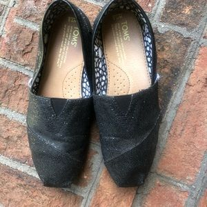Black Glittery TOMS Shoes
